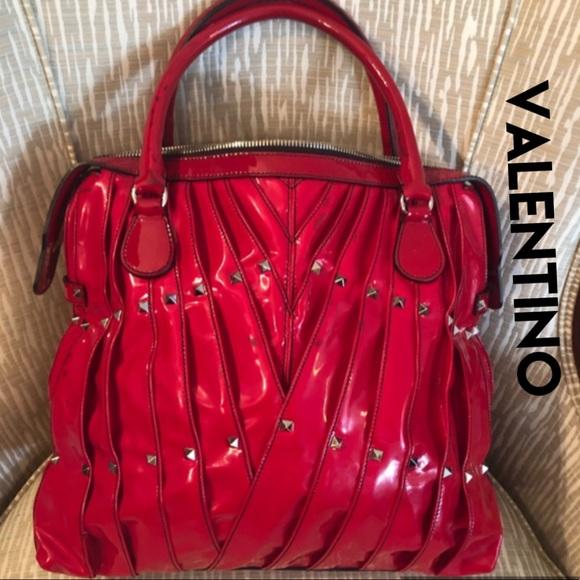 Valentino Garavani Handbags - VALENTINO Red Bag Tote Rock Stud Maison Leather